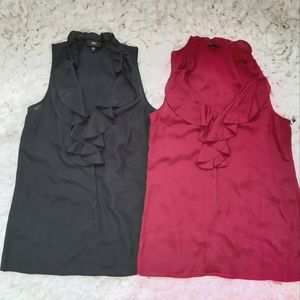 Bundle Mossimo Ruffle Collar Button Front Tanks XS